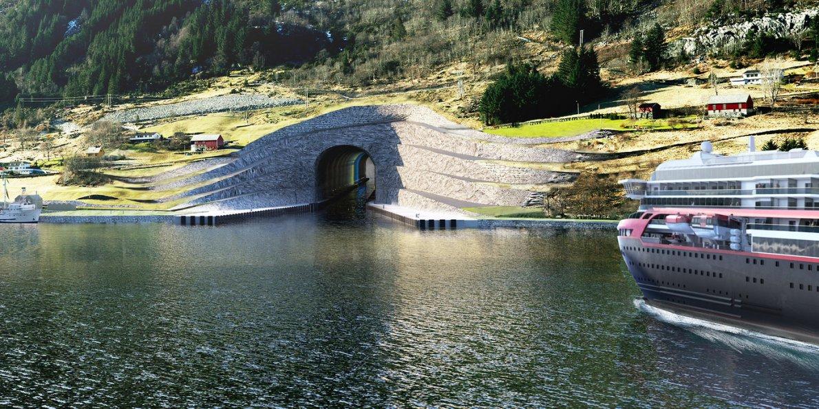 بزرگترین تونل عبور کشتی های غول پیکر در دنیا؛ نروژ