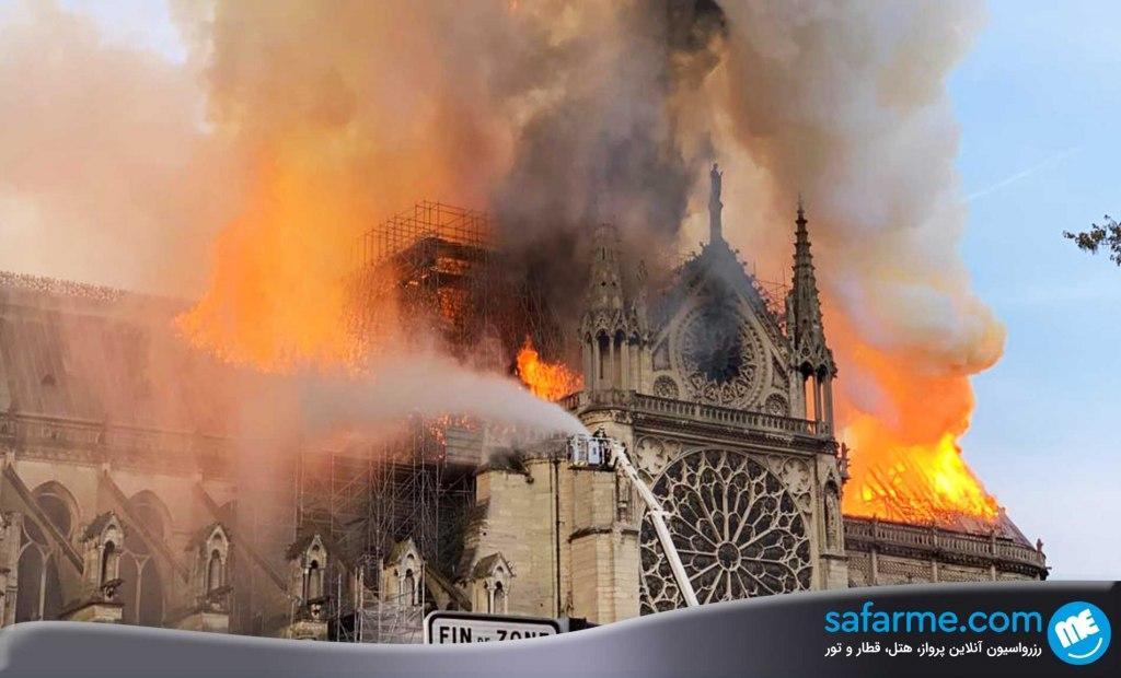 نوتردام پاریس در آتش سوخت ..